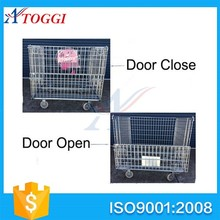 foldable galvanized warehouse storage wire mesh cages with wheels