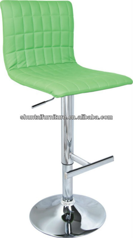 Apple green leather backrest height adjustable bar stools/highchair with footest