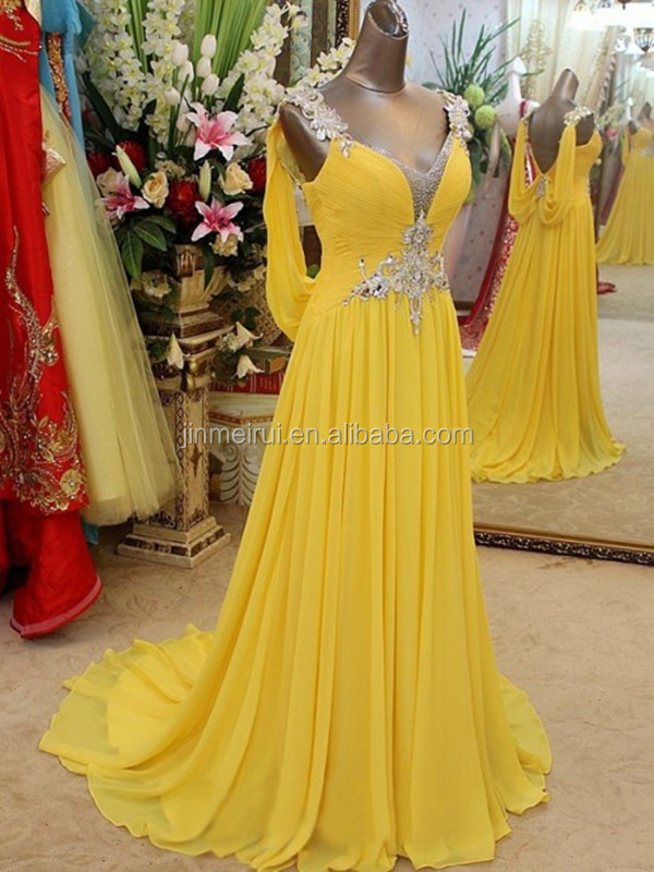 Luxurious Long Backless Prom Dresses Sparkling Crystals And Beaded Evening Gown Prom Dresses Chiffon Vestidos De