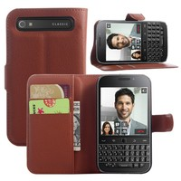 Brown Color Litchee Pattern PU Leather Stand Wallet Case for blackBerry classic Q20