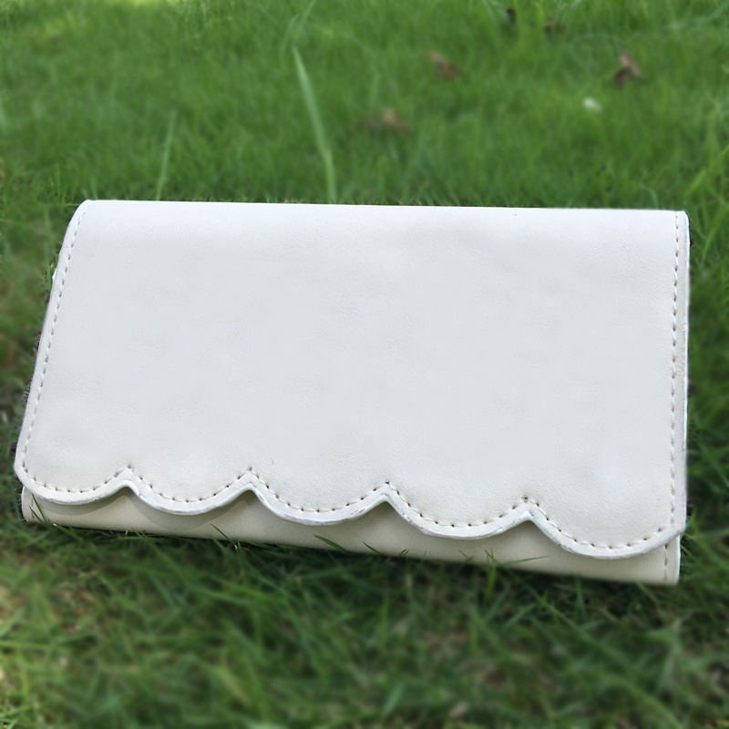 DOMIL Fashion PU leather Scalloped Wallet Purse Casual Envelopes