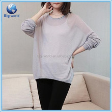 The spring autumn of 2015 new start edition loose women long sleeve round neck batwing kanitted pullover sweater poncho