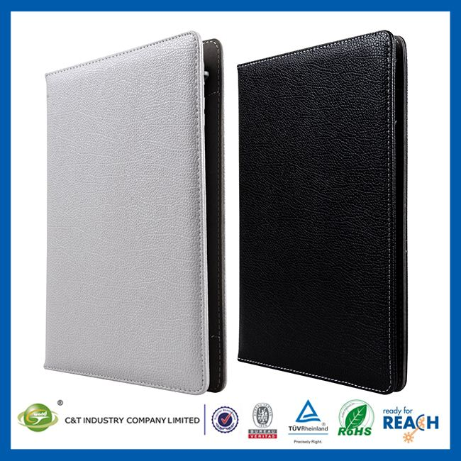 C&T Popular pure color leather folio Flip stand case for ipad air