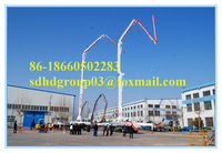 HOWO chassis 48m concrete boom pump truck for sale, with remote control concrete pump truck