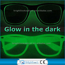 2015 Wholesale New Style Glow In The Dark Luminous Frame Custom Logo Glasses CE UV400 Fluorescent Glow In The Dark Sunglasses