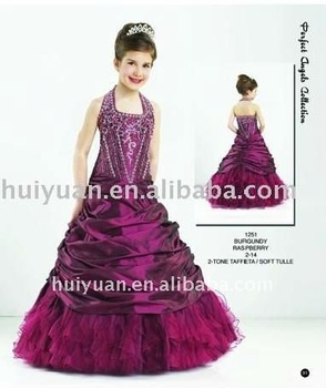Embroidery beads dark purple kids dress