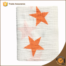 Big stars orange color polar blanket cotton muslin swaddle black, muslim swaddle words