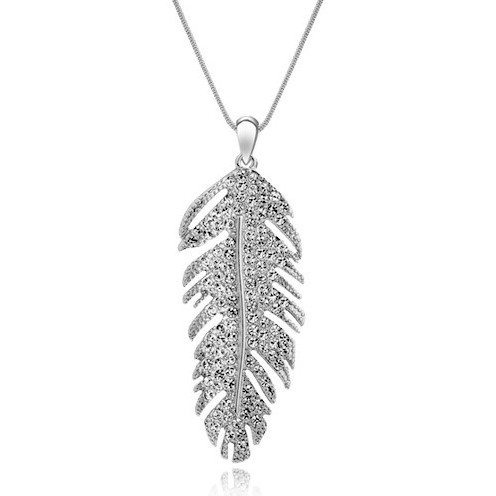 Trendy Design Luxury jewelry silver gold Plated leaf long necklace Crystal feather pendant neckalce for Women Jewelry