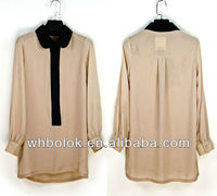 Chiffon pink long blouse for women shirt with long sleeves