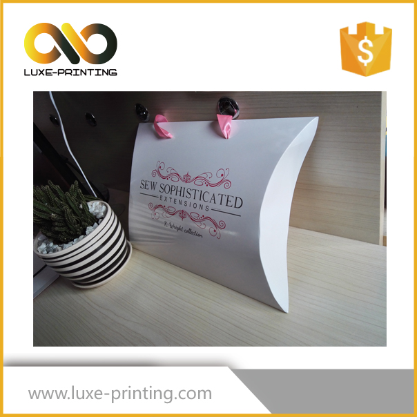 Paper,350gsm C1S art paper Material pillow box for hair extension packaging