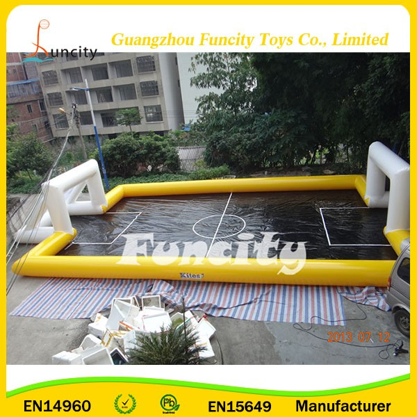 exciting outdoor inflatable sport game water football soccer field for sale