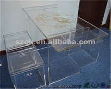 Luxury clear lucite vanity wedding table set acrylic dining table and chairs