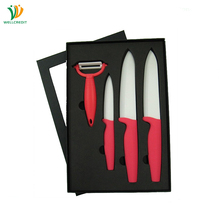 4pcs Kitchen Knives Set Ceramic White Blade with PP TPR Handle Knife Box