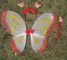 cheap fairy butterfly wings with gold glitter powder