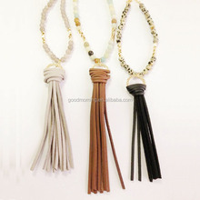 Semi-precious stone beads long necklace with leather tassel