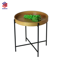 Scandinavian Furniture Folding Round Wooden Modern Tray Side Table
