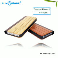 2013 HOT wooden products real leather case skin flip cover case pouch wallet for iphone 5