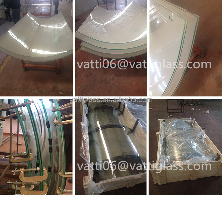 Bent glass Small radius curved tempered laminated glass