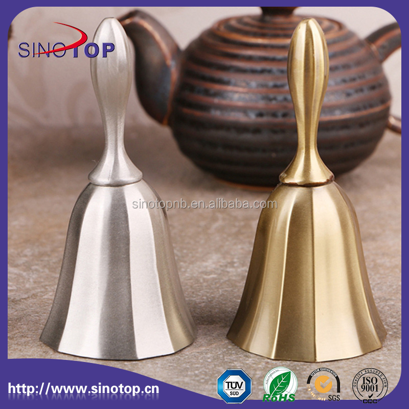 Large Solid Bar Bell Hand Held Service Call Bell Polished Brass Finish Desktop Hand Held Call Bell for home office, school