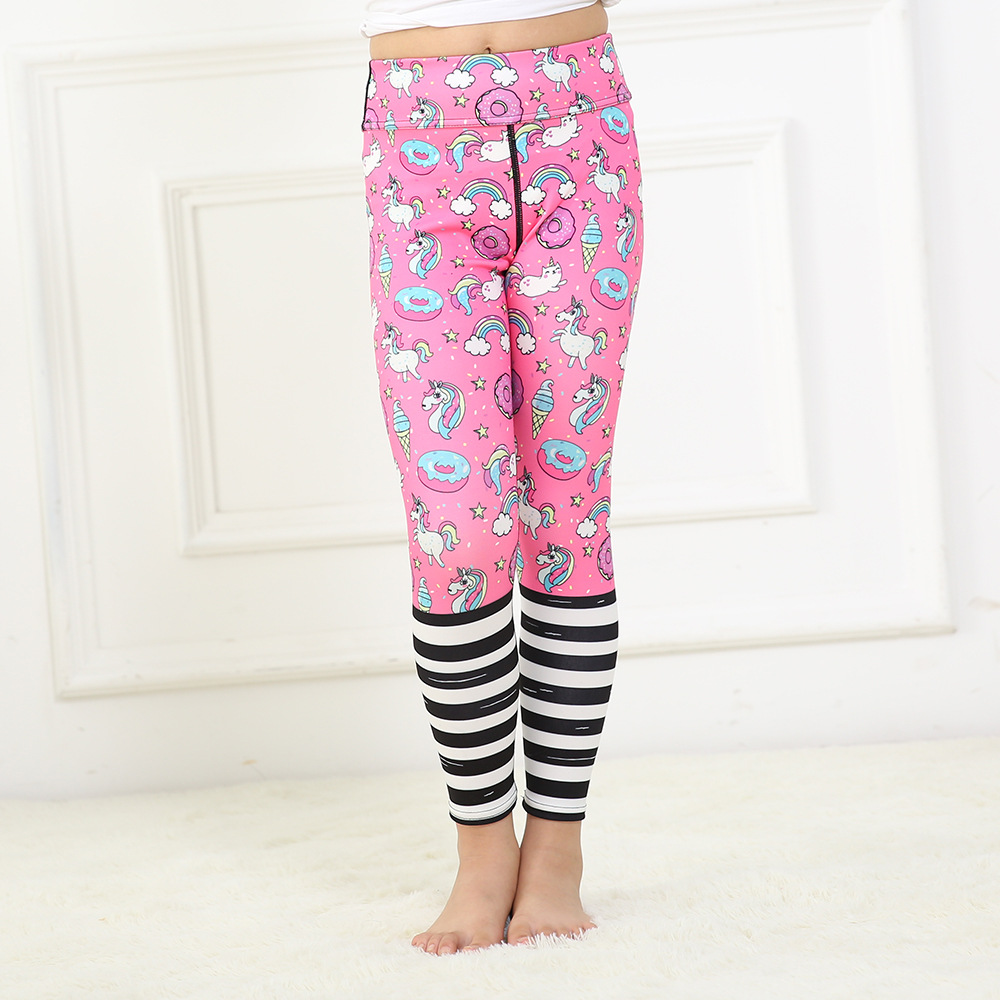 New children's cute pink clever stitching version of quick-drying breathable yoga pants