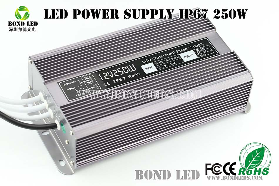 12v 250w constant voltage waterproof IP67 LED driver/LED power supply for LED strips and LED display
