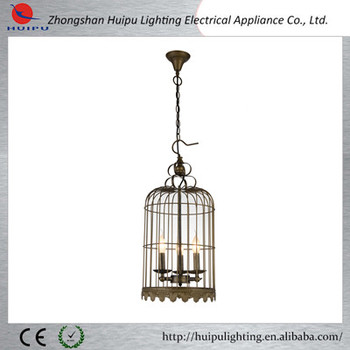 High quality vintage brid cage candle tea pendant light for bar decorate