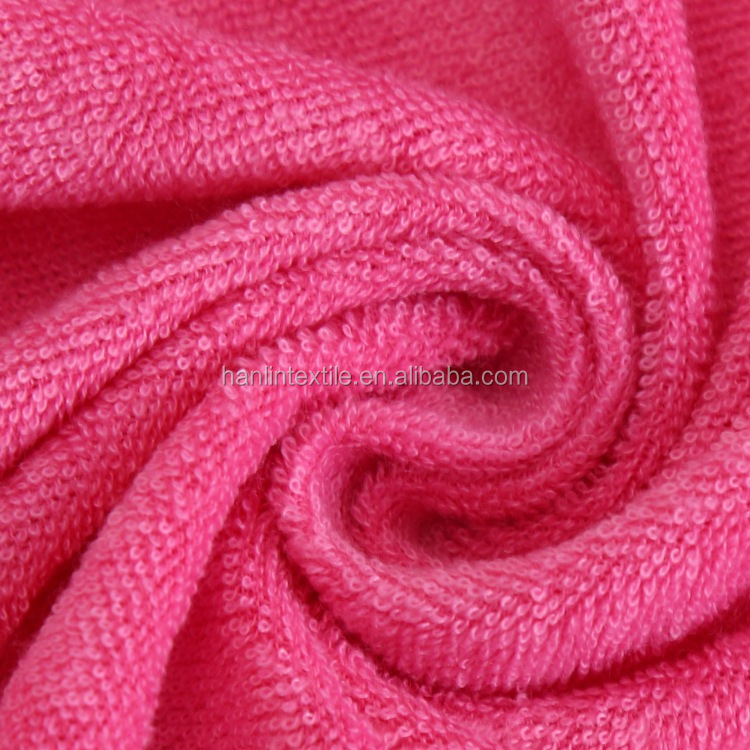 Custom Plain Dyed 80% Cotton 20% Polyester Terry Towel Cloth Fabric