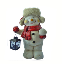 Personalized Polyresin Magnesian Door Greeter Big Cozy Snowman Figurine with LED Tea Light Lantern
