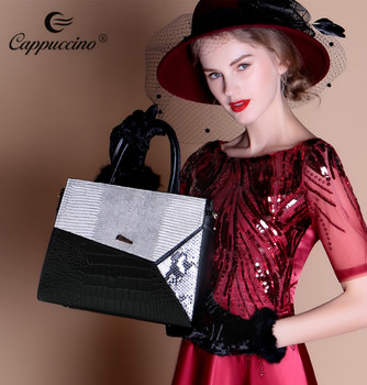 2018 Cappuccino new products ladies Genuine leather women fashion handbag in stock