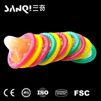 Yellow or pink colored condom