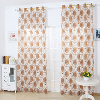 High quality sheer organza voile jacquard fabric curtain factory