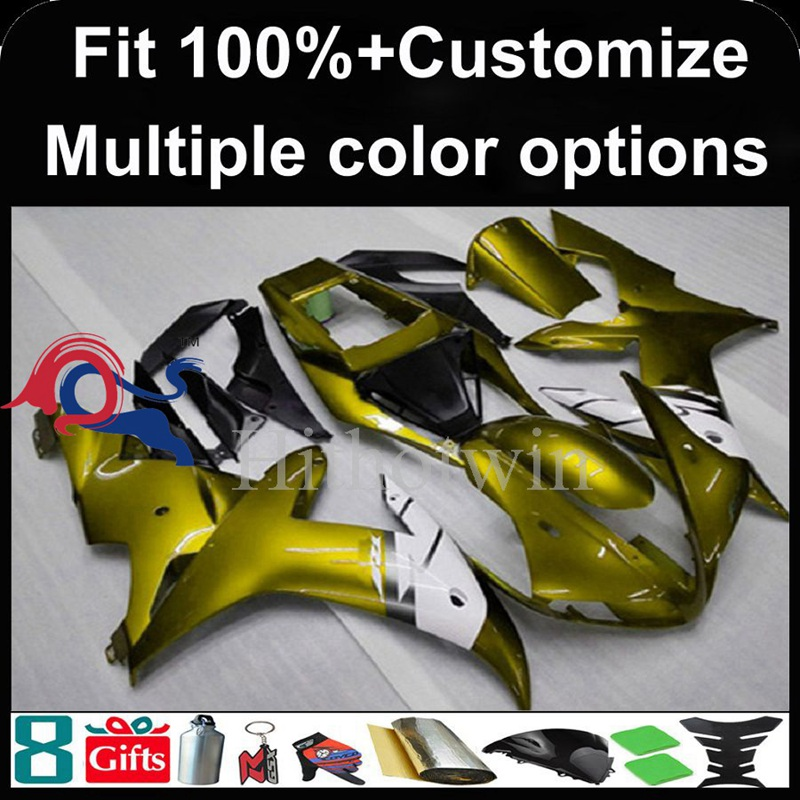 Injection mold gold Body motorcycle cowl for Yamaha YZF-<strong>R1</strong> 2002-2003 <strong>02</strong> <strong>03</strong> YZFR1 2002 2003 <strong>02</strong>-<strong>03</strong> ABS Plastic Fairing