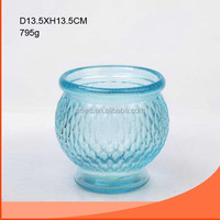 Elegant blue color glass fish bowl wholesale