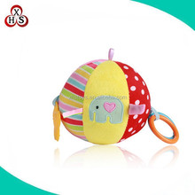 colorful soft stuffed plush baby ball toy with handle ring