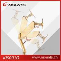 Golden 360 degree rotating computer wall mount monitor arm