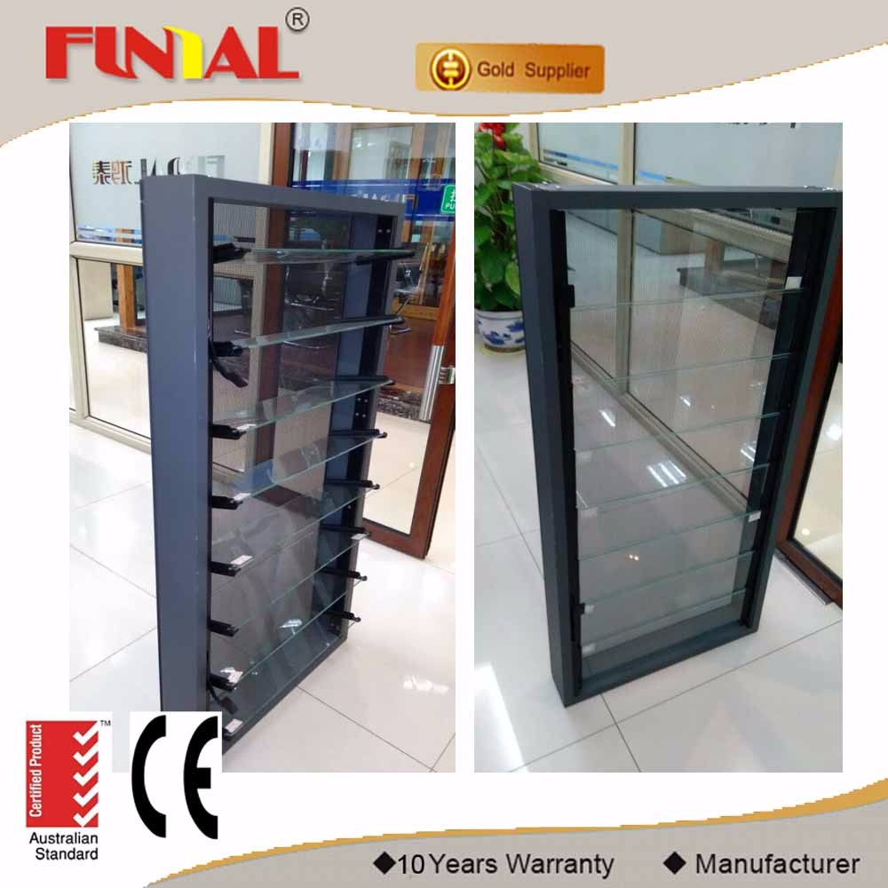 China supplier aluminum frame tempered glass louver window with AS2047 certification