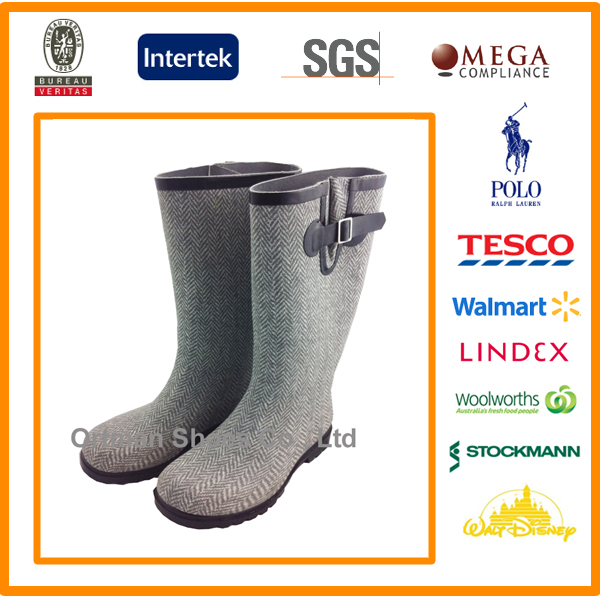 manufacturer high quality unique rain boot of foaming fabric print for women men children