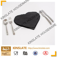 [Factory direct]Romantic heart shape cut edge30*30cm natural black slate plate with finely processed