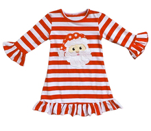 Wholesale baby <strong>girl's</strong> christmas santa claus embroider <strong>dresses</strong> kids boutique stripes <strong>dress</strong>