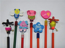 Novelty animal pencil toppers, funny christmas pencil toppers,rubber pencil topper for kids