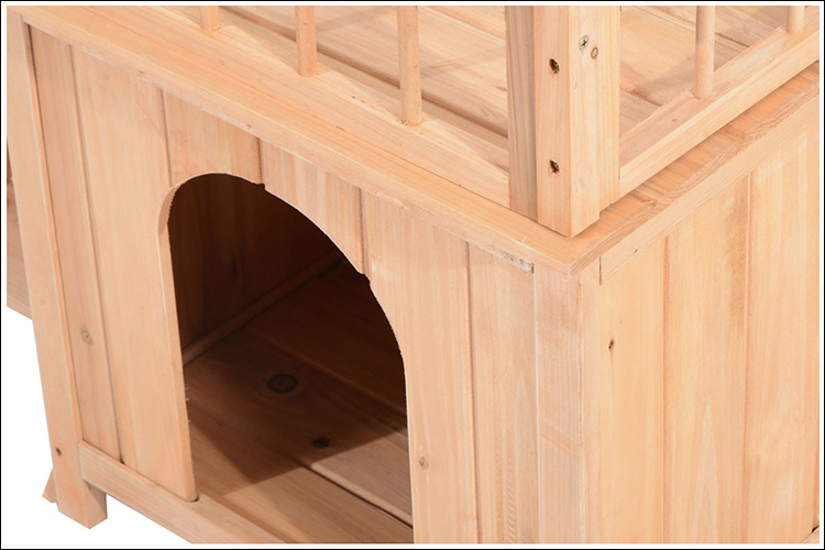 2-Story Indoor/Outdoor Wood Cat/Dog House Shelter