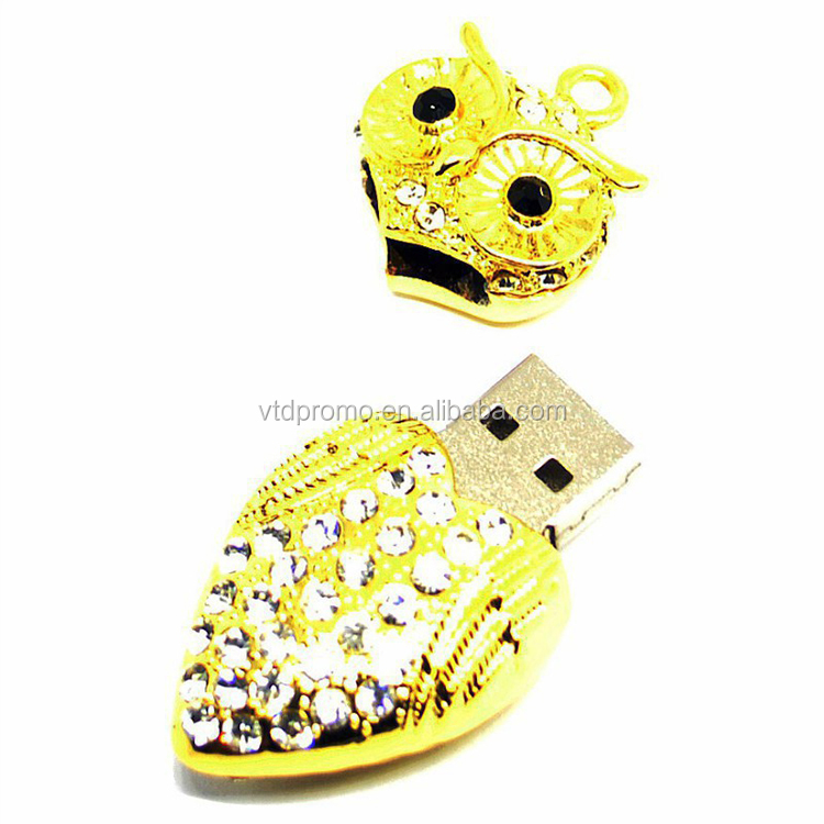 Fashion jewelry crystal diamond owl shape usb flash drive pen drive