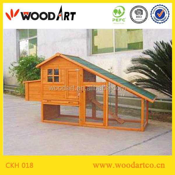 Wooden ladder-frame chicken coop hen house with large run