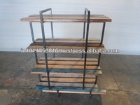 WOODEN AND IRON BOOK SHELF