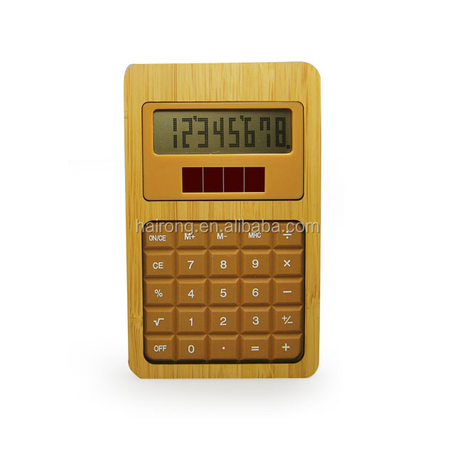 Customized bamboo wooden calculator with solar