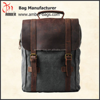 Genuine Cow leather bag canvas bag BACKPACK