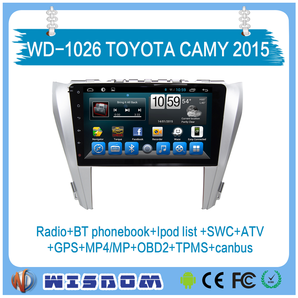 10.1'' quad core multi-touch screen android car dvd player with bluetooth wifi swc ipod list wifi mp3 mp4 for Toyota Camry 2015