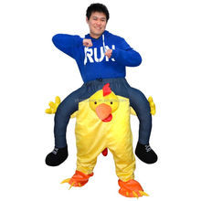 Factory direct sale ride on chicken costume funny party costume for adults