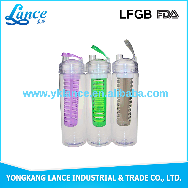 Customized infuser water bottle OEM brand 700ml water bottle flip top fruit infuser water bottle