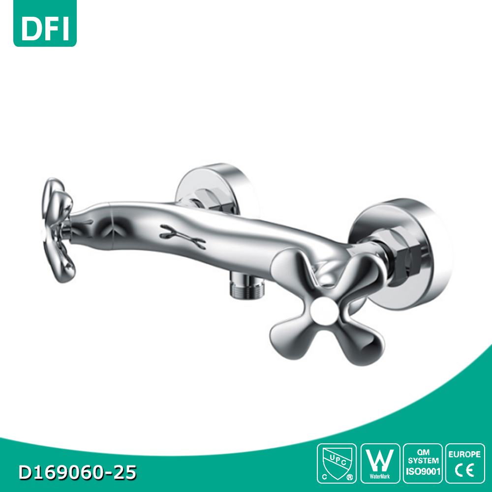 Double Lever Brass Bath Tub Faucet, Polish and Chrome Finish, Wall Mounted